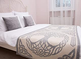 SAOL 床上围巾爱尔兰三种生活由柔软羊毛混纺制成(灰色,大号双人床)