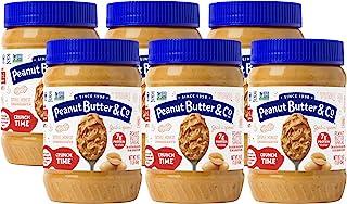 Peanut Butter & Co. Crunch Time Peanut Butter, Non-GMO Project Verified, Gluten Free, Vegan, 16 oz Jars (Pack of 6)