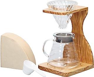 HARIO V60 橄榄木支架套装   多合一咖啡冲泡器设置带支架、玻璃滴滤器、测距服务器、量勺和过滤器,透明,尺寸 02