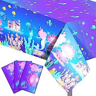 紫色美人鱼派对桌布 一次性 PE 塑料桌罩 海底世界主题派对装饰矩形派对用品适用于桌面派对装饰,86.6 x 51.2 英寸(3)