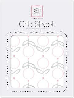 SwaddleDesigns棉绒婴儿床床单 Pink Lolli Fleur
