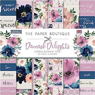 The Paper Boutique Damask Delights-装饰垫,花卉粉红色,20.32 x 20.32 厘米