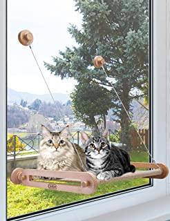 CATISM 猫窗栖息地*木质框架猫吊床,猫窗座采用柔软触感纹理面料,坚固的旋转吸盘可承重 33 磅