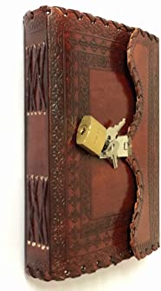 VINTAGE CRAFT SHOP 皮革 日记本 笔记 笔记本 计划本 日常记事本 记事本 带锁和钥匙 复古棕色 男女皆宜