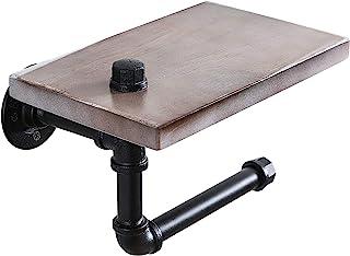 QL DESIGN 管状卫生纸架,带乡村木架,壁挂式浴室纸架