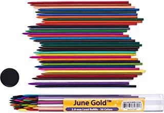 June Gold *大彩色铅芯 抗断裂铅(石墨色),带有方便的分配器 2.0 mm 36 Assorted Unique Color Refills