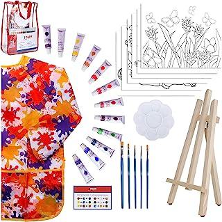 女孩儿童艺术套装 - 28件丙烯酸绘画用品套装带储物袋,12个可洗颜料,1个防刮画架,6个预模版画布,8 x 10英寸(约20.3 x 25.4厘米),5个画笔,10好的调色板