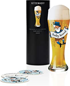 RITZENHOFF Oliver Melzer 小麦啤酒杯,水晶玻璃制成,500毫升,带5瓶啤酒盖