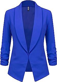 Lock and Love 女式七分袖西装外套前开襟开衫夹克工作办公室外套