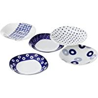 西海陶器 靛蓝色 蓝色圆圈花纹 咖喱多用盘子 13306