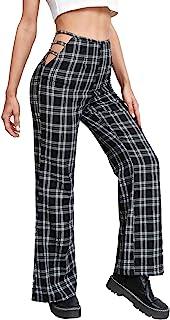 WDIRARA 女式格子剪裁喇叭腿休闲高腰长裤