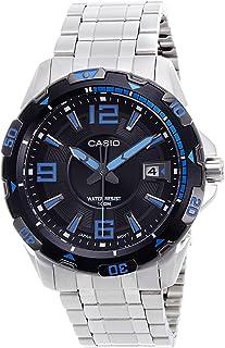 Casio Casio 男式 MTD1065D-1AV 银色不锈钢石英手表带黑色表盘
