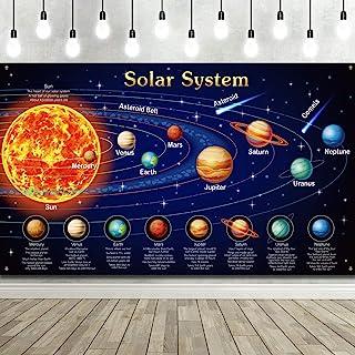 太阳能系统装饰大型织物外太空海报横幅空间主题背景背景儿童男孩空间生日装饰行星派对教育用品,72.8x43.3 英寸