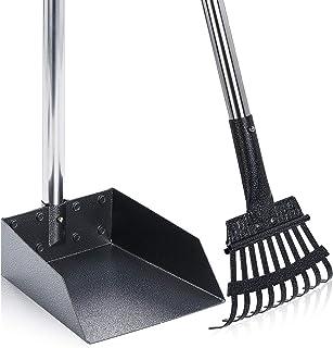 SEYKCES Pooper Scooper 大号狗狗扫帚带长手柄,耐用金属耙和托盘扫帚,适合大型犬,非常适合草坪、草坪、污垢、砾石