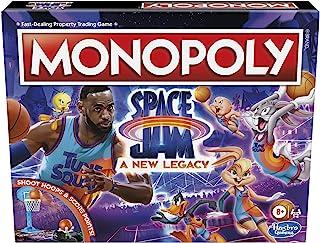Hasbro 孩之宝 游戏大富翁:Space Jam A New Legacy Edition 家庭棋盘游戏,战略游戏,8 岁及以上儿童,Lebron James Space Jam 游戏,射篮