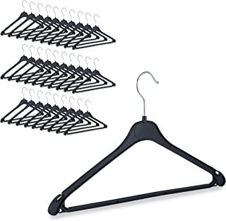 Relaxdays 衣衣架,带裤栏、衬衫、衬衫、裙子、连衣裙、旋转钩、塑料,各种包装 黑色 23.00 x 42.50 x 0.70cm 10026612_1004