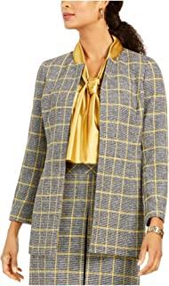 Kasper 女式黄色格子西装外套上班夹克尺码 12P