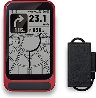 trimmOne,New Paradigm GPS 自行车/自行车电脑,带太阳能充电器,地图,导航,进出 GPX 文件/红色