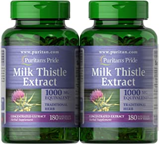 Puritan 的骄傲牛奶蓟提取物 1000 毫克水飞蓟素,共 360 粒(2 包 180 克拉软胶囊),360 粒