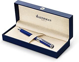 Waterman Perspective 钢笔,亮蓝镀铬饰边,细笔尖,蓝墨水墨胆,礼品盒