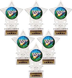 Express Medals 6.5 英寸透明亚克力星台球 八九球冠军*杯*杯(6 件装)