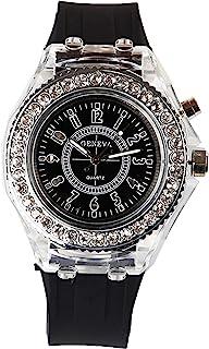 DDL Watch 时尚设计闪亮的 LED 时尚手表(脱颖而出!表壳发光)黑色