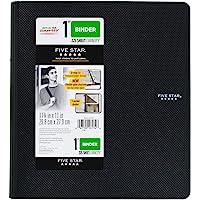 Five Star 1 英寸 3 环活页夹,塑料,黑色 (38894),2 件装