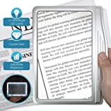 MagniPros 3 倍大超亮 LED 页放大镜,带 12 个防眩光可调光 LED(近乎照射区和缓解*应变)-适合阅读…