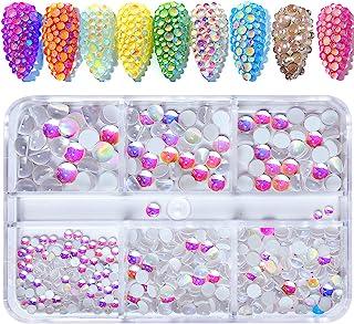 540 件闪亮*水钻套装 3D 极光糖果彩色水钻珠玻璃宝石多形状水钻美甲装饰美甲DIY工艺服饰鞋饰品(银色-粉色)