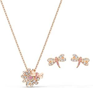 Swarovski 施华洛世奇 永恒之花蜻蜓套装,镀玫瑰金,玫瑰金色