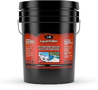 液态橡胶聚氨酯密封剂 - 易于粘贴 - 抗紫外线 - 室内和室外涂层 - 白色,5 加仑(约 1.3 升)