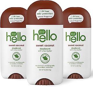 hello 甜椰子*剂,女士+男士,24 小时气味保护,无铝 + 无苏打,纯素,不含防腐剂,2.6 盎司(约 73.7 克),3 支装
