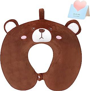CozyWorld 可爱熊 U 形动物旅行颈枕软*泡沫支撑头枕带可拆卸枕套,适合幼儿儿童朋友