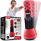 whoobli Ninja 充气儿童拳击袋,儿童充气玩具拳击袋,弹跳 BOP 袋,适合玩耍、拳击、空手道、愤怒管理