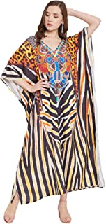 Gypsie Blu 加大码女式长袍和服袖涤纶宽松超长连衣裙数码印花长款长袍适合度假穿着(多色豹纹长袍)