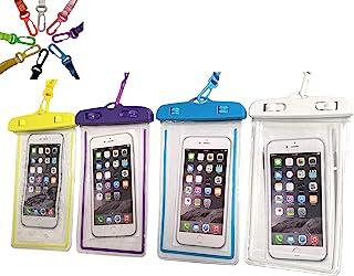 Noctilucous 通用防水袋手机干袋水下保护套适用于游泳、划船、钓鱼、滑雪、漂流、沙滩浮潜等 - 4 件装