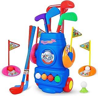 幼儿高尔夫球游戏,4 个彩色高尔夫棒,4 个球和 2 个练习孔,儿童高尔夫球杆套装,户外运动玩具,送给男孩女孩的玩具礼物 3 4 5 6 岁