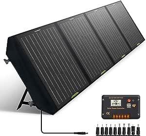 ECO-WORTHY 120 瓦可折叠太阳能电池板,带充电控制器,直流输出户外便携式充电器,适用于露营者 RV 徒步笔记本电脑平板电脑 iPhone