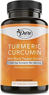 Pure By Nature Turmeric Curcuminoids with Black Pepper Extract 100% Organic, 180 Count