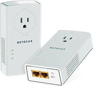 NETGEAR 电力线适配器 2000 Mbps (2) 千兆以太网端口,带直通 + 额外插座 (PLP2000),型号: PLP2000-100PAS