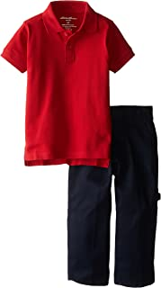 Eddie Bauer Little Boys' Solid Pique Polo and Twill Carpenter Pant