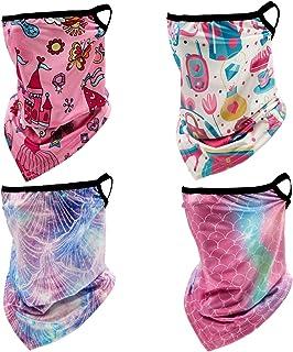 4 件装儿童颈套面罩带耳环 儿童凉爽夏日阳光 UV 滑雪面罩围巾面具,适合女孩男孩