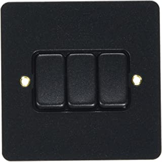 MK Edge K14373LBKB 10A 双向三重开关单极 - 亮黑色