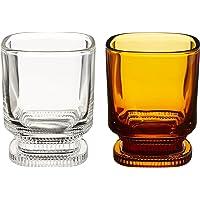 Hirota Glass 玻璃杯 平底杯 透明 & 琥珀色 220 毫升 昭和摩登咖啡 MO-5021 2 色装