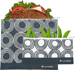 Lunchskins 可重复使用 2 件拉链食品收纳袋套装,1 个三明治袋 + 1 个零食袋,炭黑圆圈