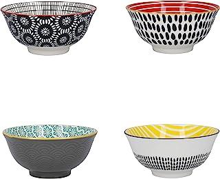 "Kitchen Craft 图案麦片碗套装,礼盒装,4 个陶瓷碗,非常适合冰淇淋、汤等,""单色""设计,15 厘米"