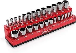 Olsa Tools 磁性插座收纳器   1/4 英寸(约 0.6 厘米)驱动器   SAE RED   可容纳 26 个插座   优质工具收纳包
