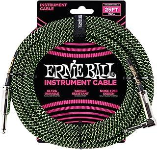 Ernie Ball 乐器电缆,霓虹绿/黑色,25 英尺