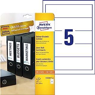 AVERY 目的 C32266-25 文件夹插入式标牌 125 Stück, 54 x 190 mm 白色