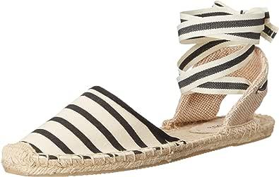Soludos 女 渔夫鞋 Classic Sandal Stripe FSA1101-102 天然黑色 36 (US 6) (保税区发货 包税包邮)